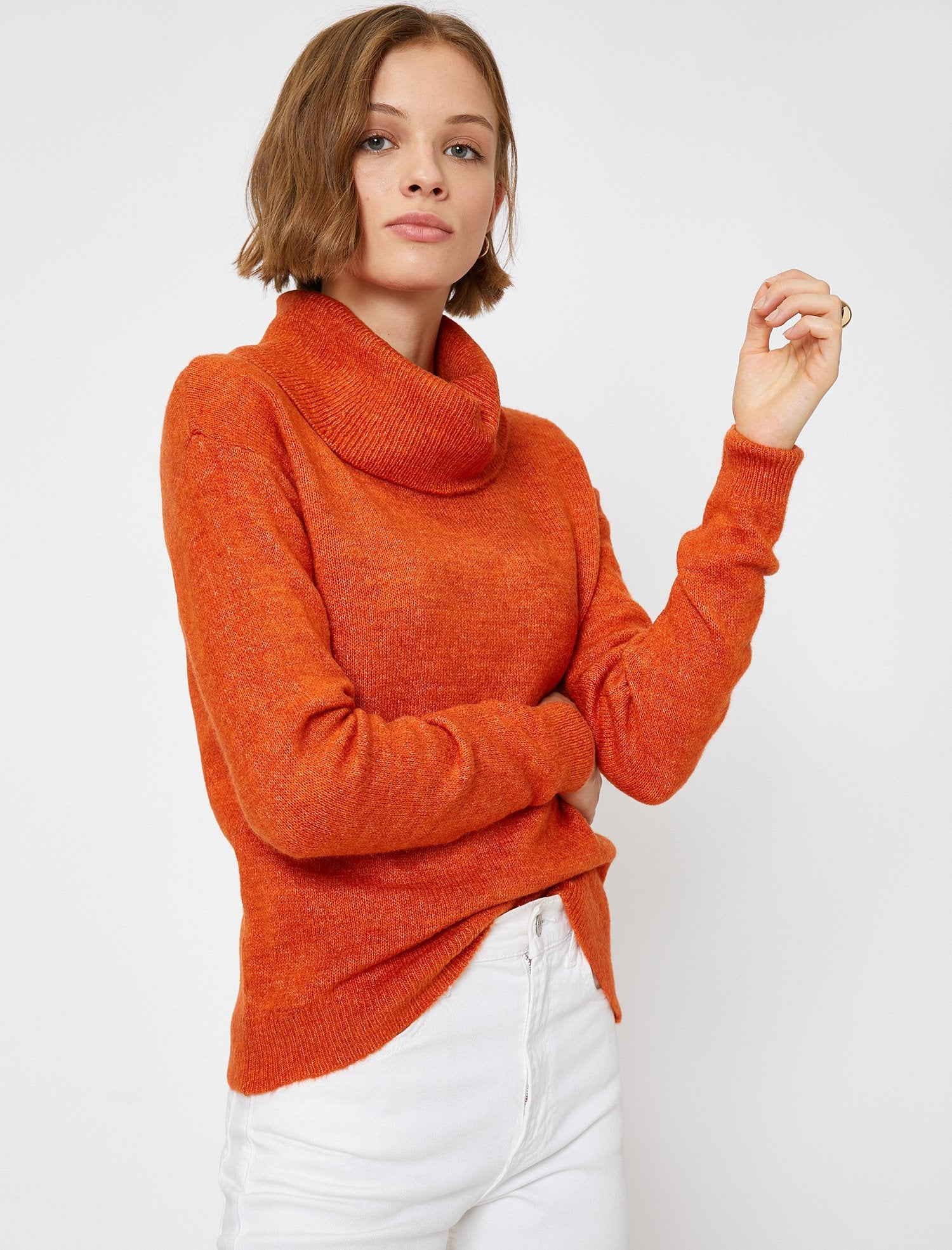 Funnel Neck Sweater in Orange Heather