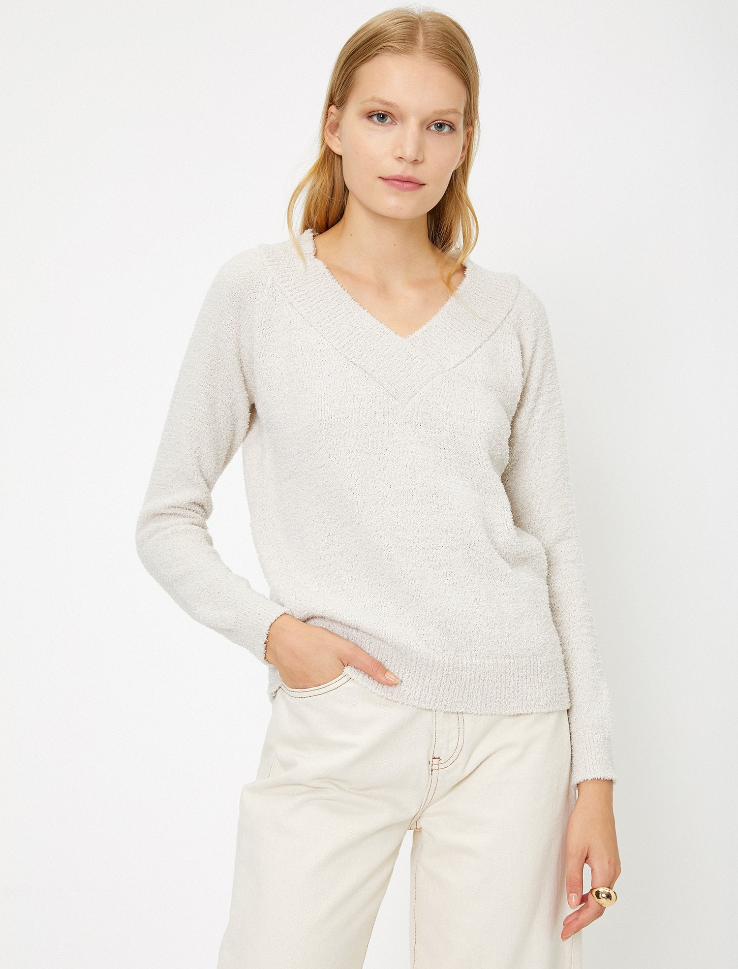 Deep V Neck Sweater in Cream