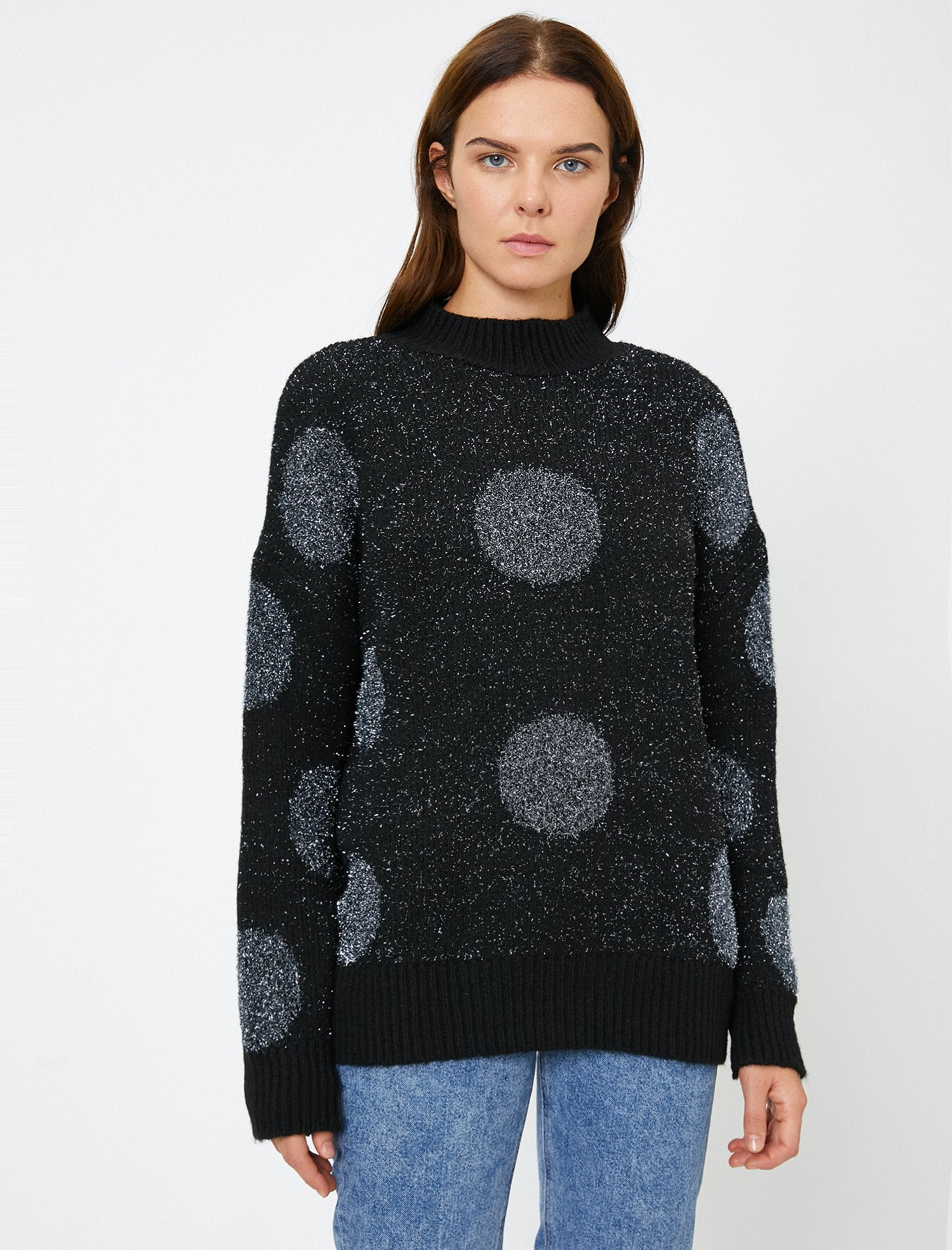 Shimmered Round Neck Sweater in Silver