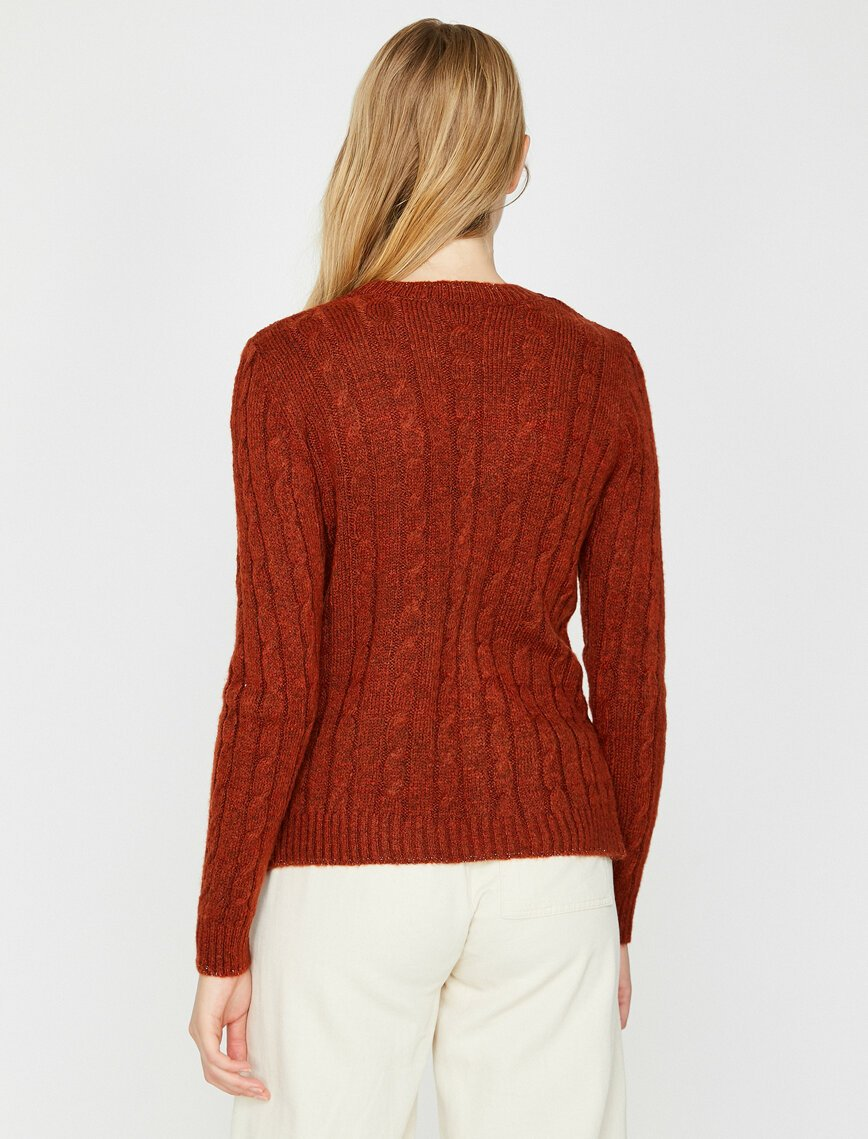 Cable Knit Basic Sweater in Clay