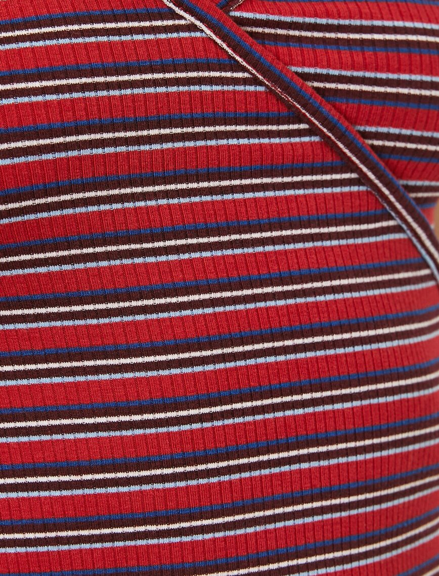 Striped Wrap Tshirt in Red