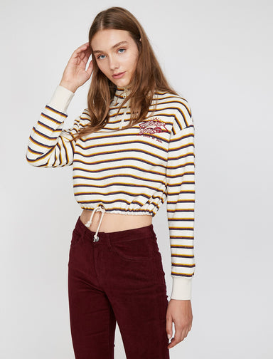 Striped Cropped Sweatshirt in Cream