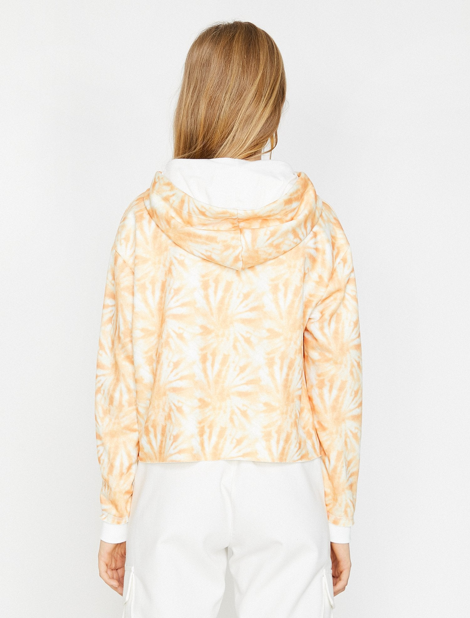Tie Dye Cropped Sweatshirt in Orange