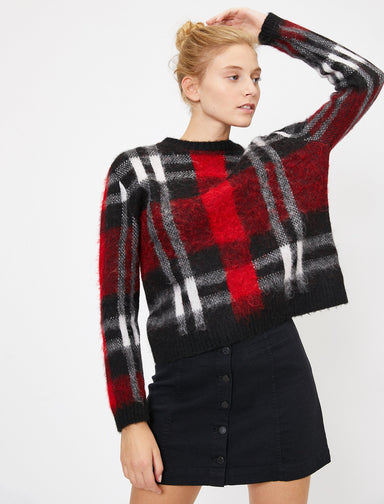 Brushed Plaid Sweater in Red
