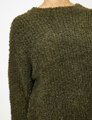 Oversize Bouclette Sweater in Olive