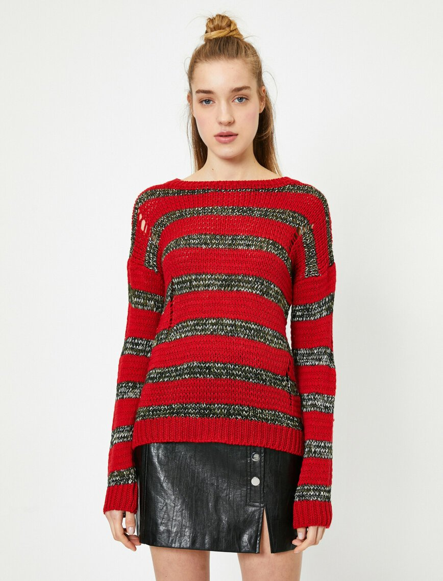 Ripped Torn Rugby Sweater in Red
