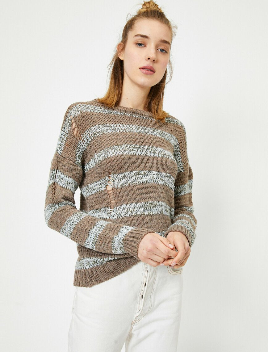 Ripped Torn Rugby Sweater in Mink