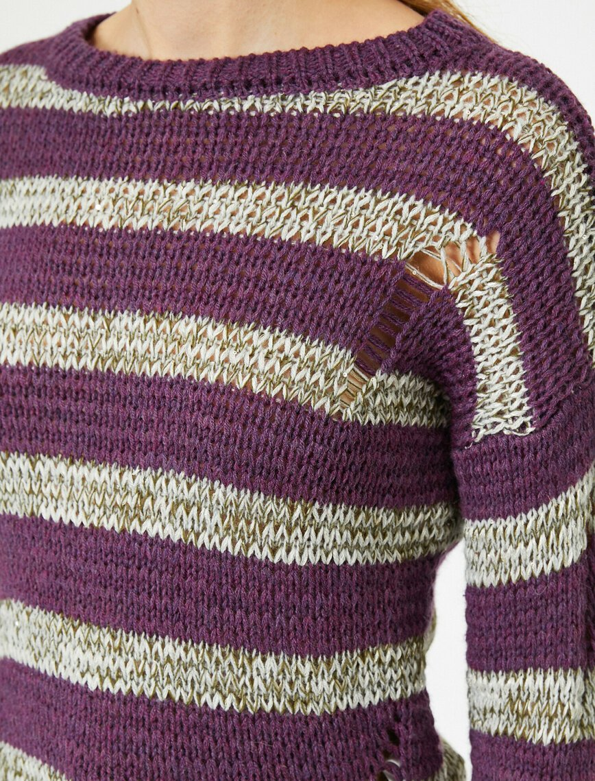 Ripped Torn Rugby Sweater in Pruple