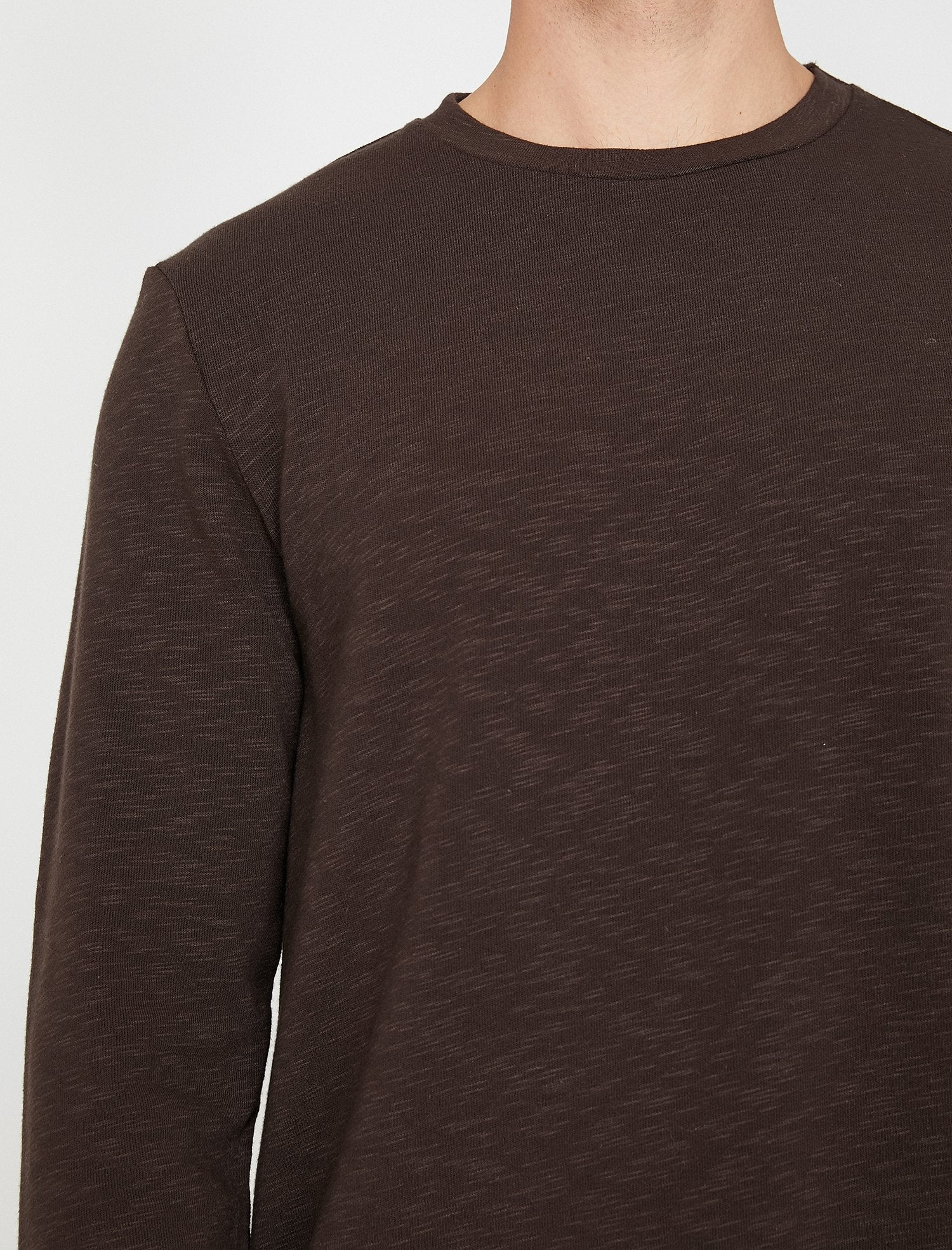 Crew Neck Tee in Brown