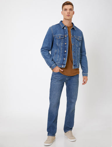Thermal Straight Fit Mark Jeans in Medium Wash