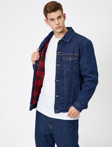 Lined Trucker Jacket in Dark Indigo