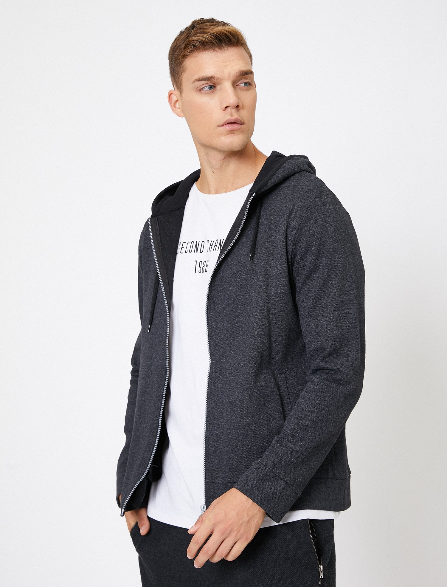 Textured Zip-Up Hoodie in Charcoal