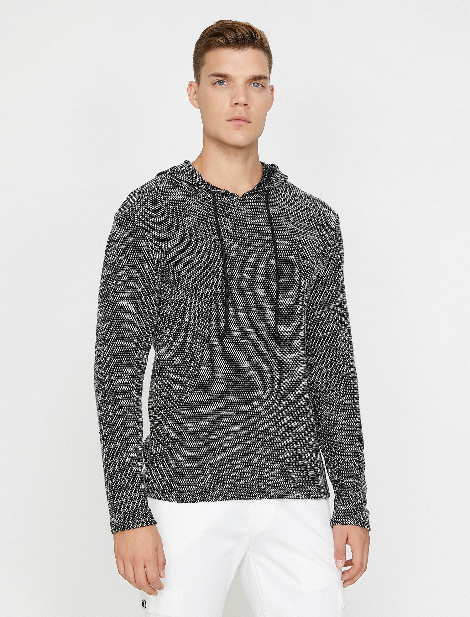 Textured Jumper with Hood in Black