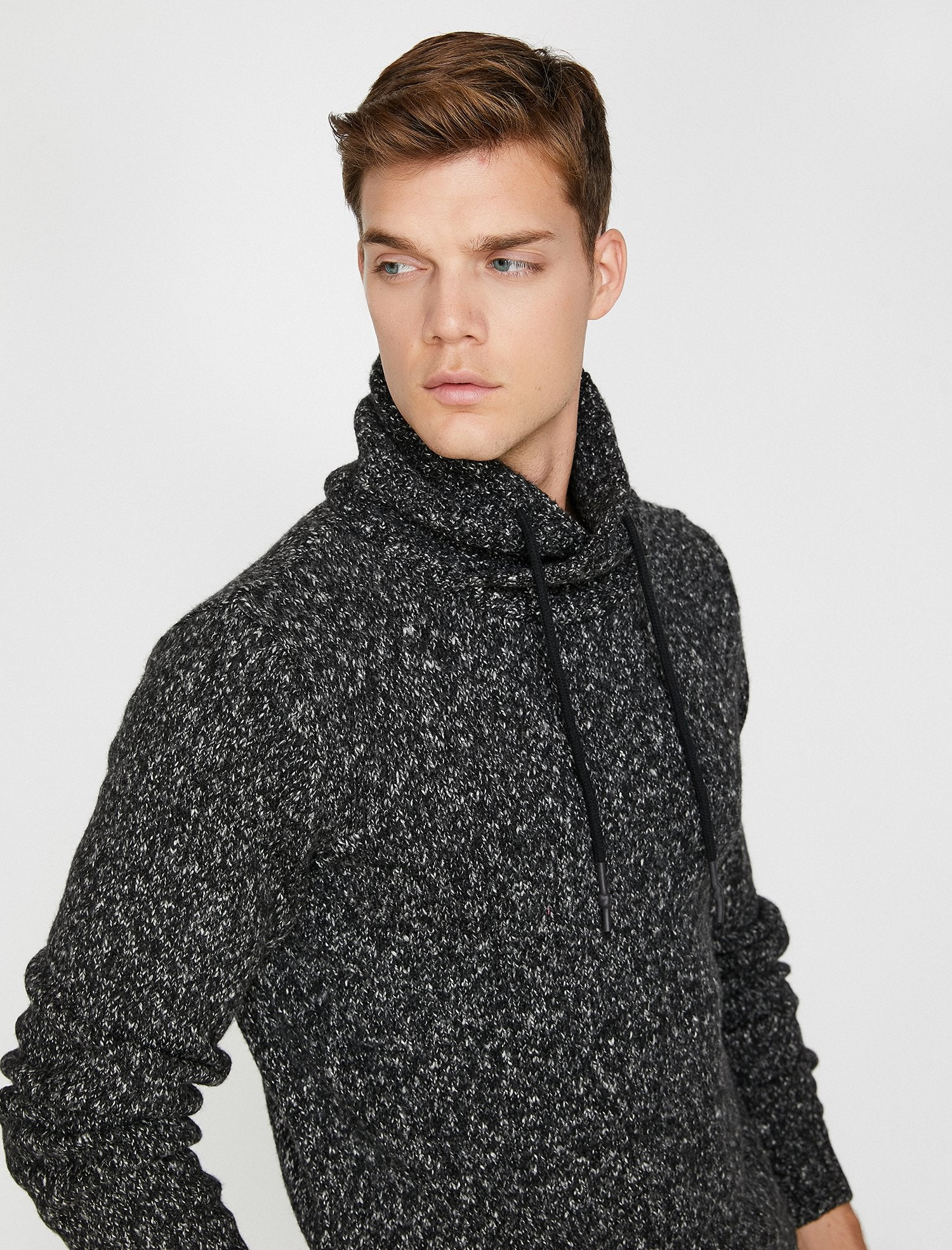 Marbled High Neck Sweater in Charcoal