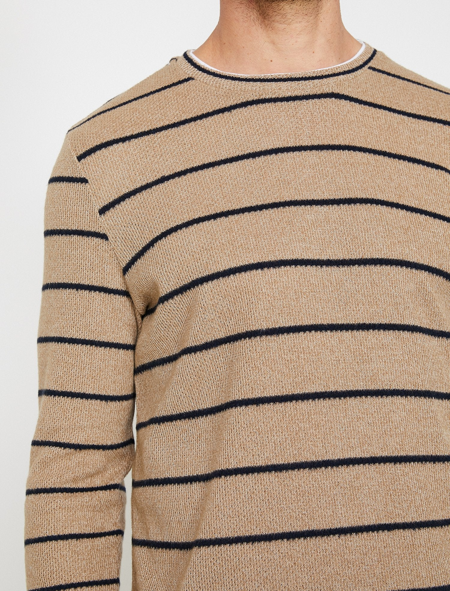 Textured Stripe Sweater in Navy