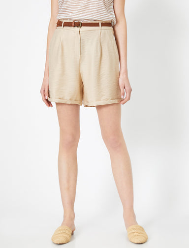 Natural Look Belted Shorts in Sand