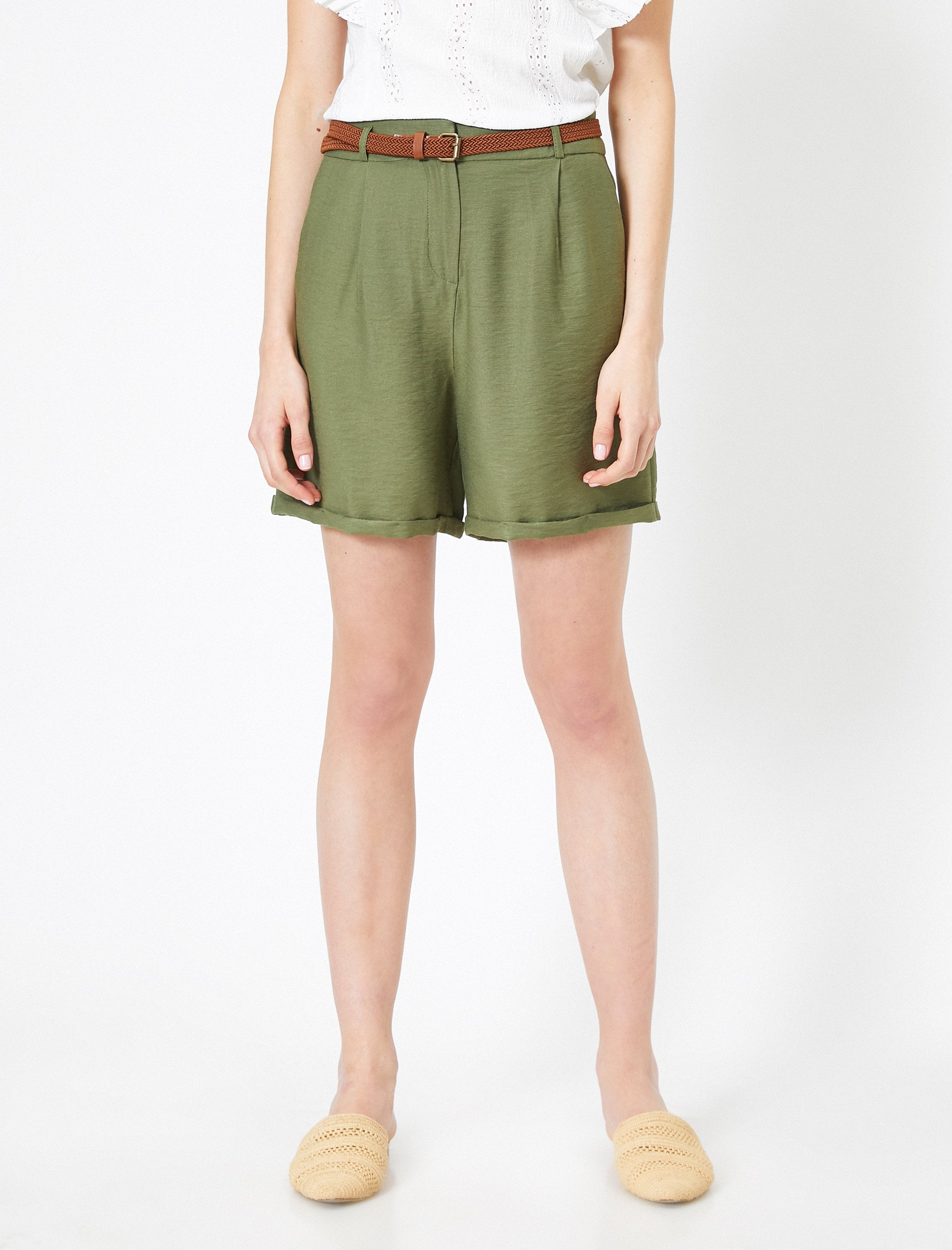 Natural Look Belted Shorts in Dark Olive