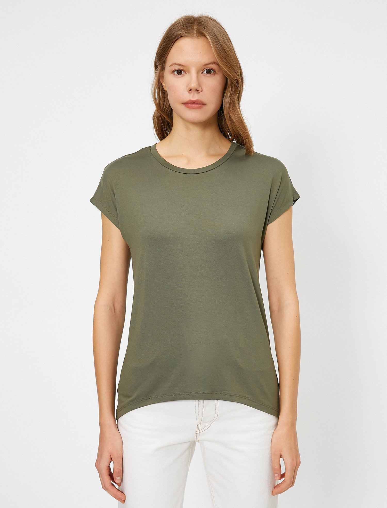 Scoop Neck Swing Tshirt in Dark Olive