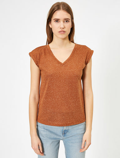Roll Up Sleeve Tshirt in Terracotta