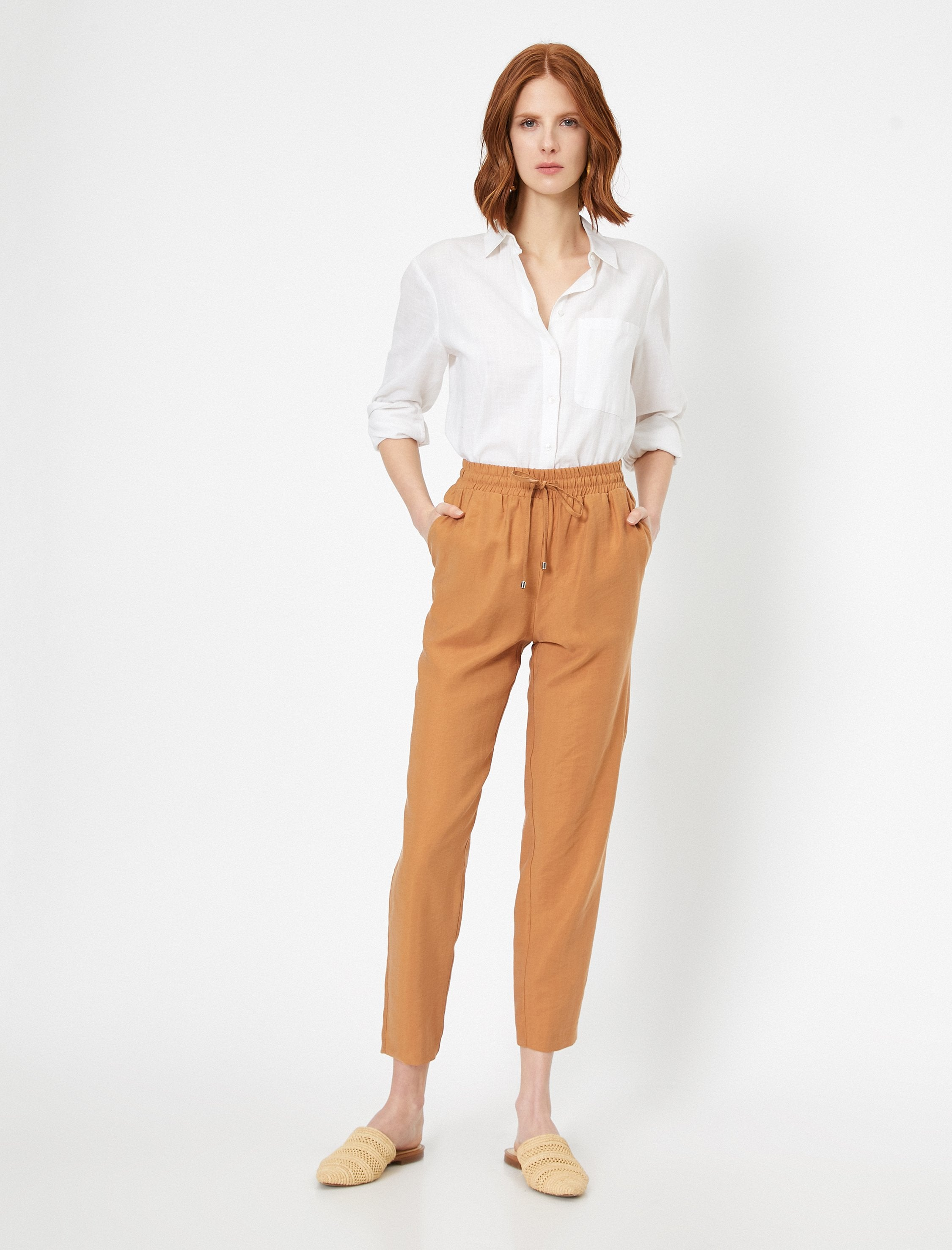 Tencel Pull On Pants in Mocha
