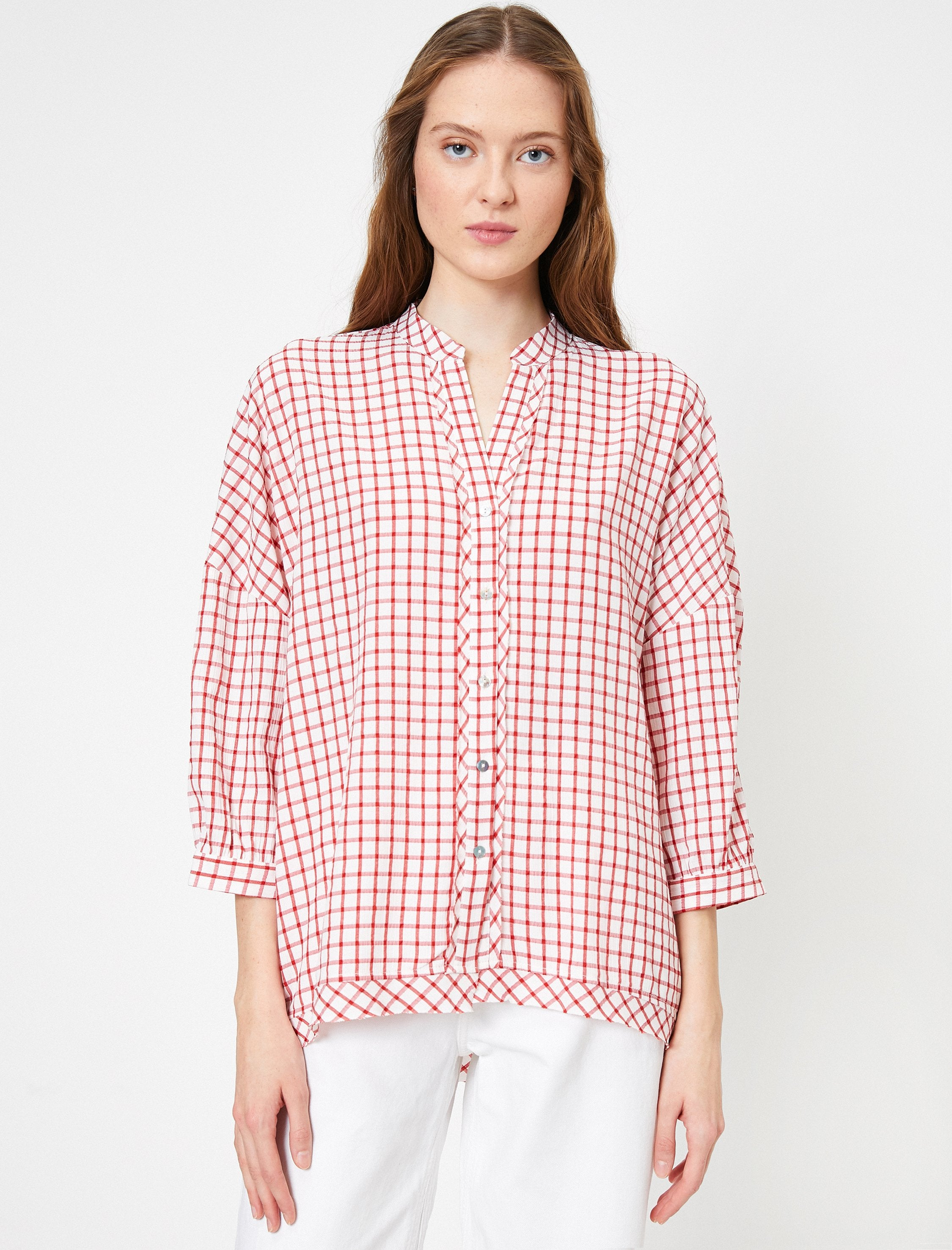 Oversized Boyfriend Check Shirt in Red