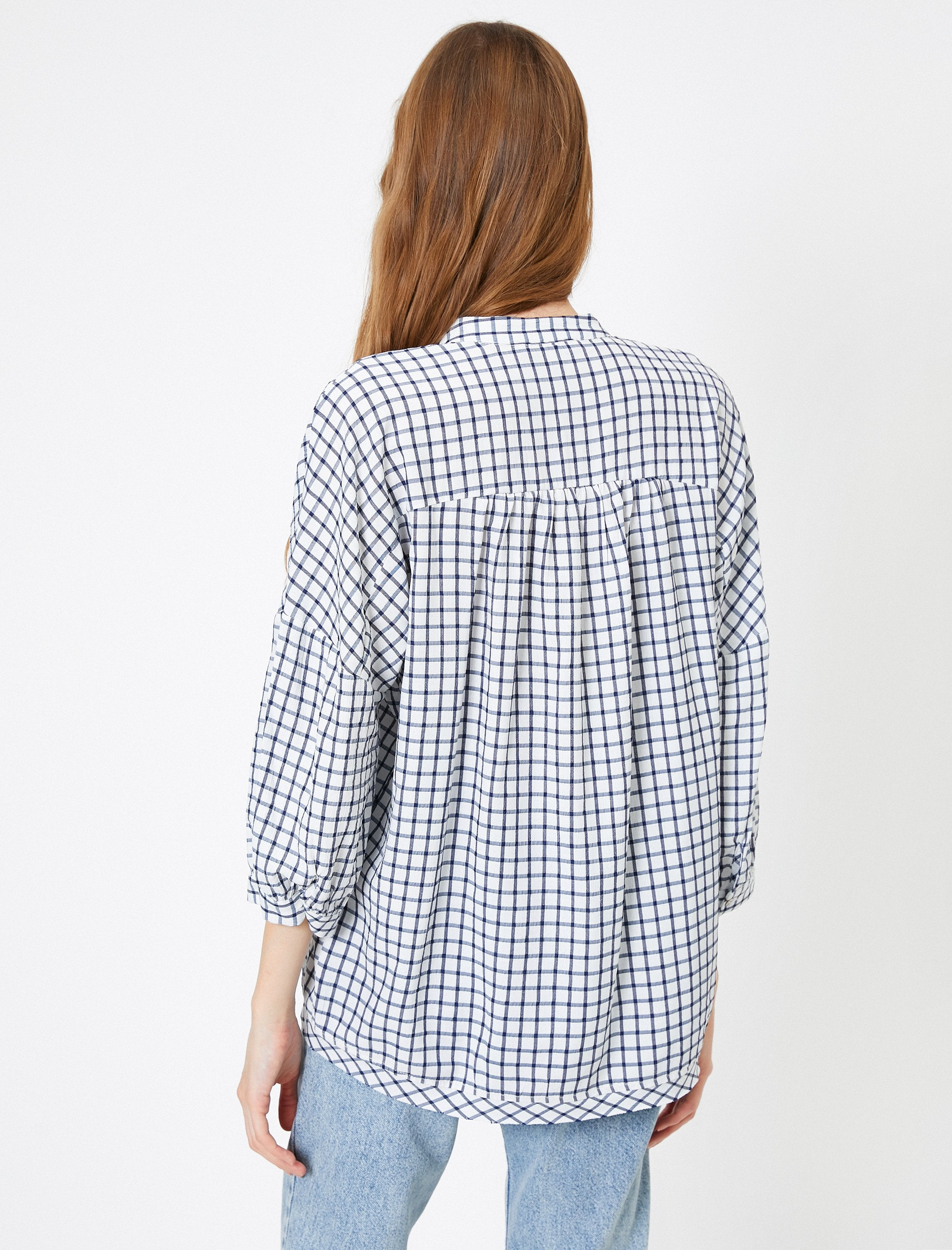 Oversized Boyfriend Check Shirt in Navy