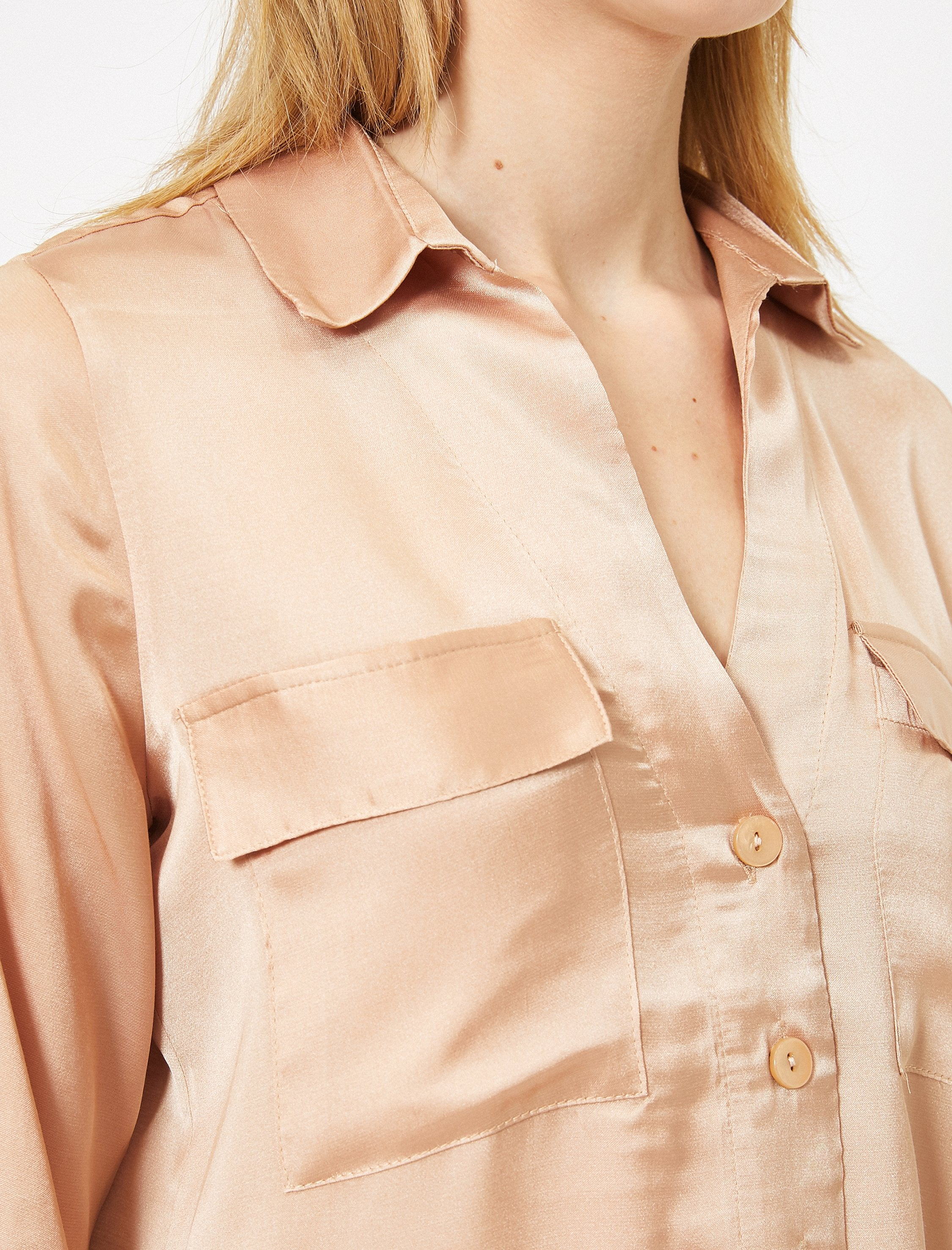 Satin Utility Blouse in Pink