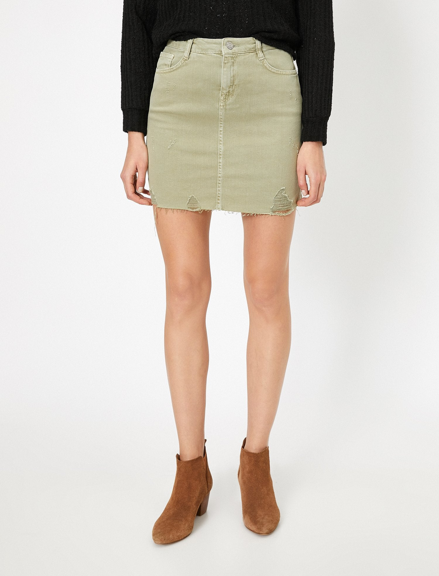 Destructed Twill Mini Skirt in Green