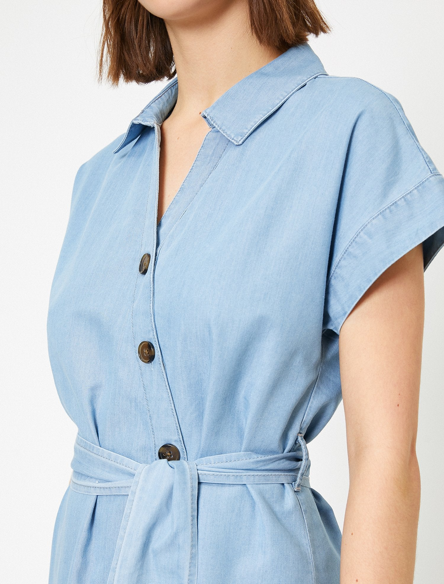 Tencel Wrap Dress in Light Indigo