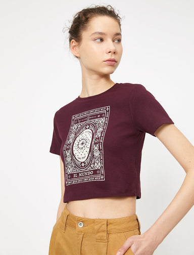 Cropped Graphic Tshirt in Merlot