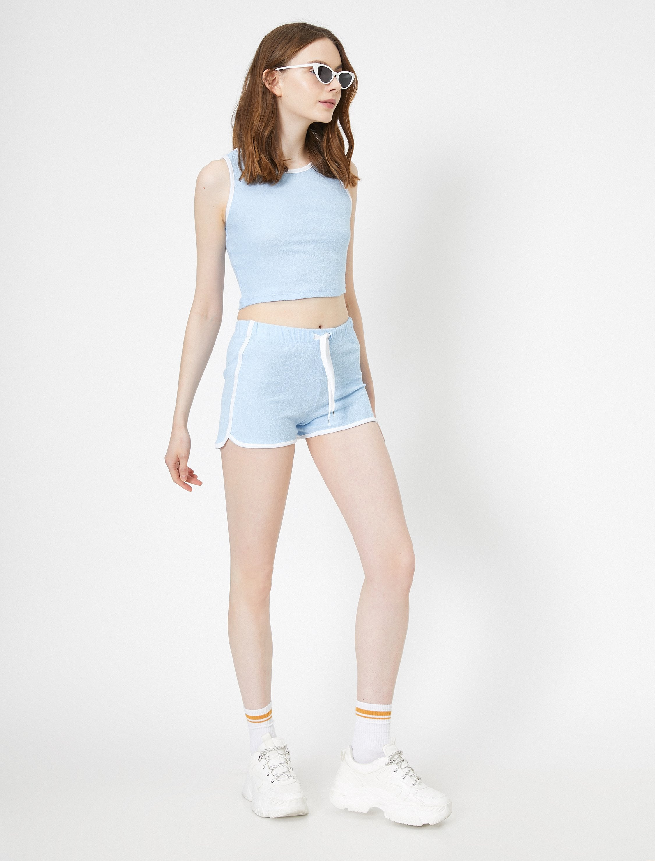 Pull On Fleece Shorts in Blue