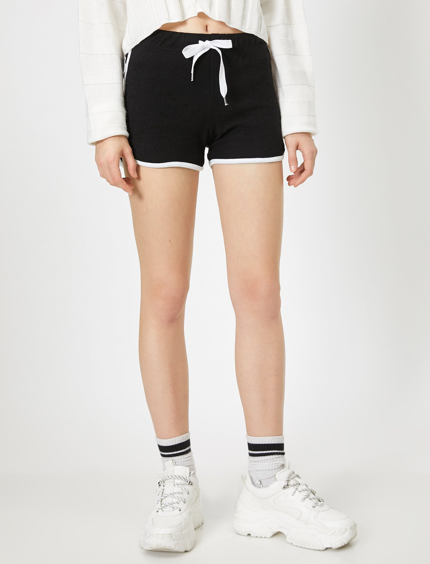 Pull On Fleece Shorts in Black