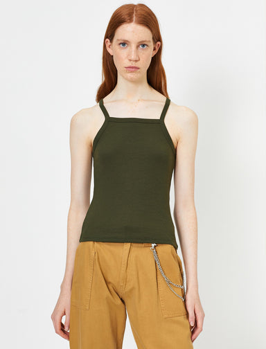 Smocked Halter Tank in Dark Olive