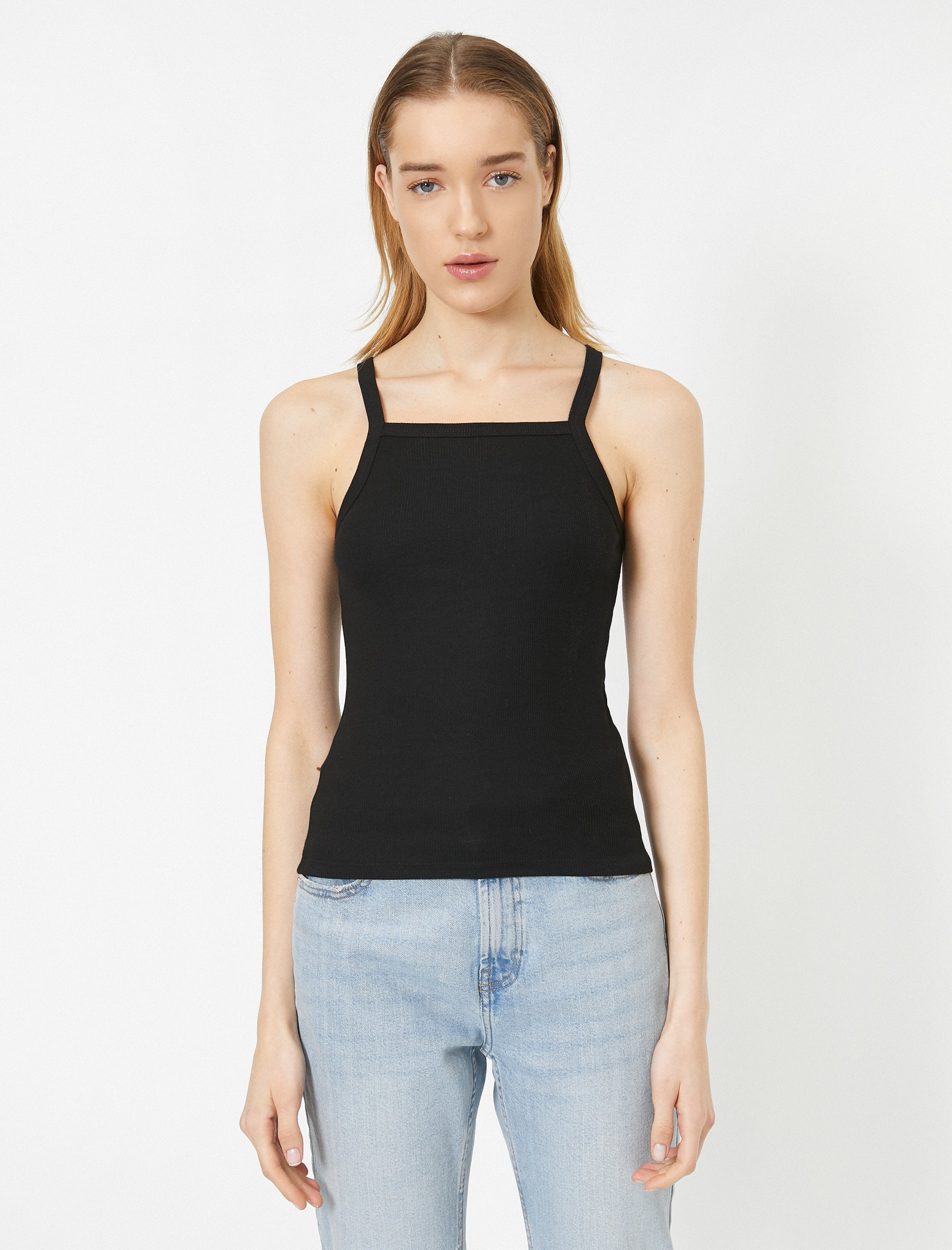 Smocked Halter Tank in Black