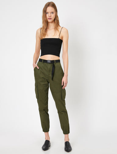 Belted Cargo Joggers in Dark Olive