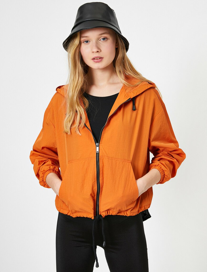 Zip Up Hoodie Raincoat in Orange
