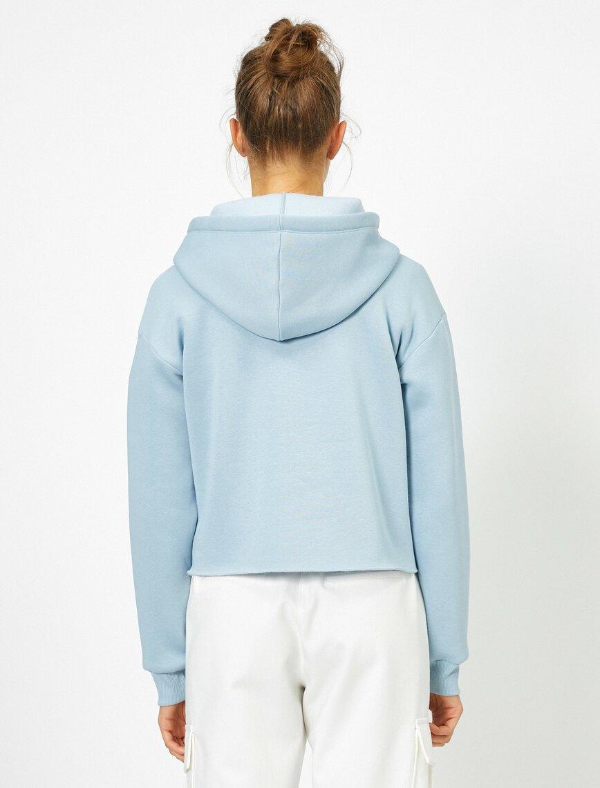 Cropped Hoodie in Light Blue
