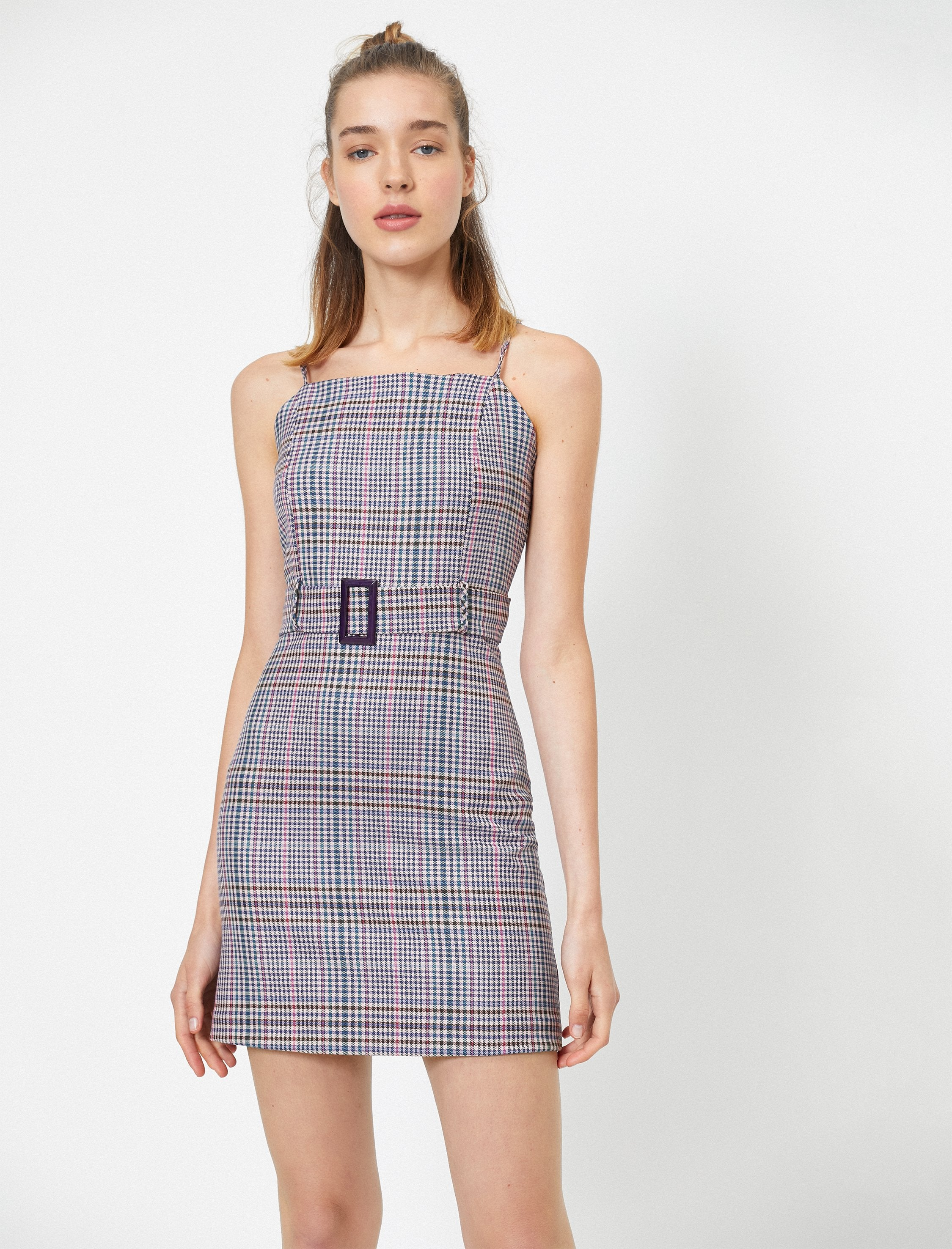 Plaid Bodycon Dress in Lilac