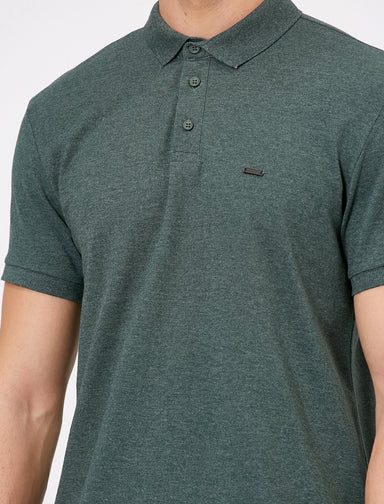 Pique Polo Shirt in Heather Olive