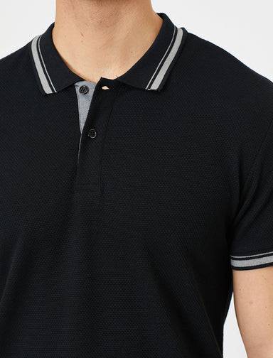 Jacquard Polo Shirt in Black