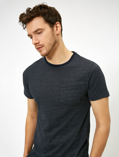 Striped Crew Neck Tshirt in Navy