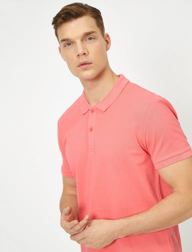 Pique Polo Shirt in Coral