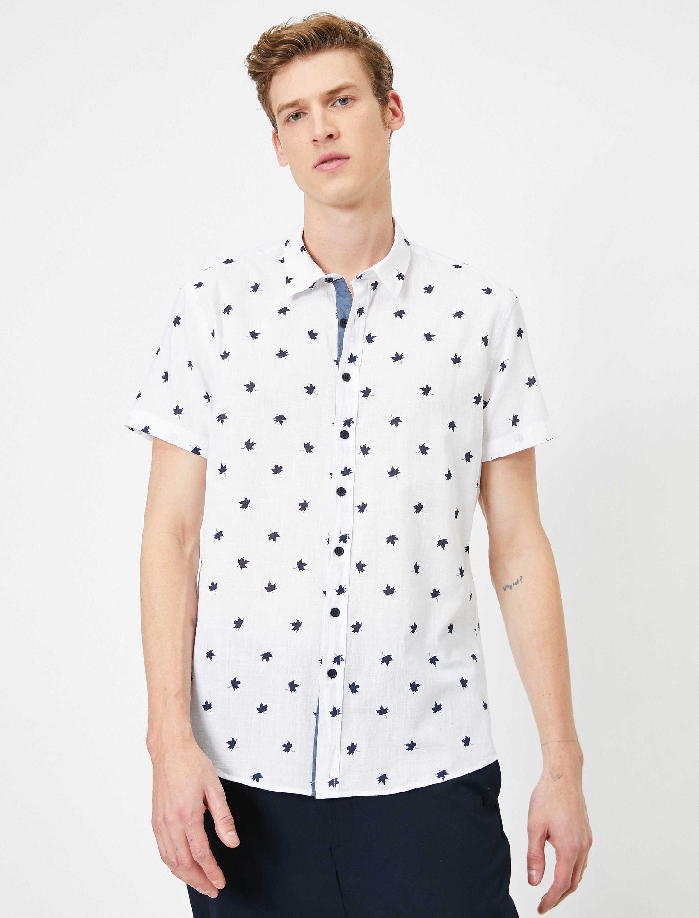 Maple Leaf Printed SS Shirt in White