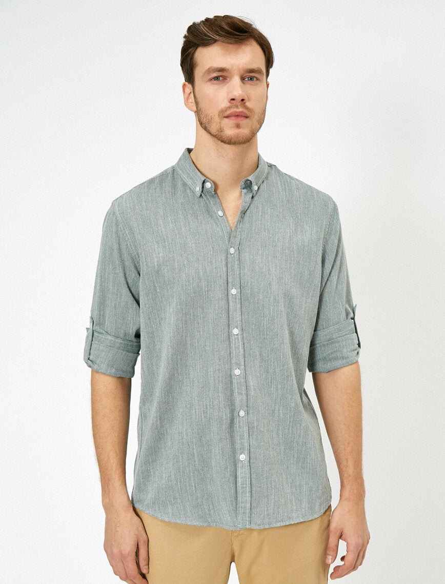 Roll-Up Sleeve Shirt in Green