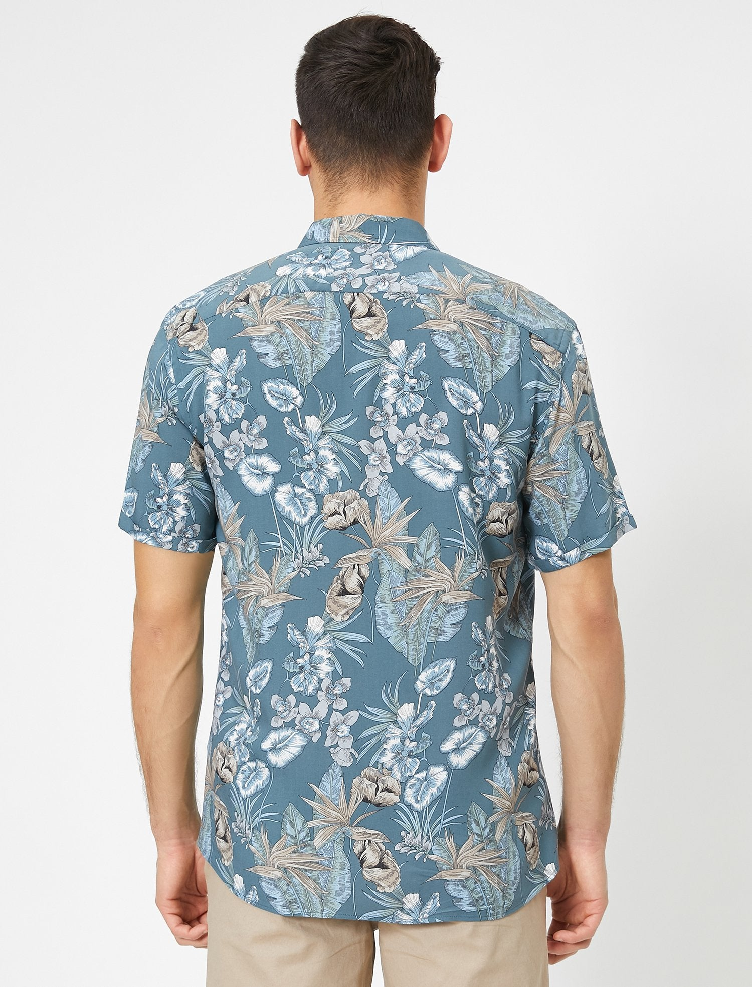 Floral Print SS Shirt in Blue