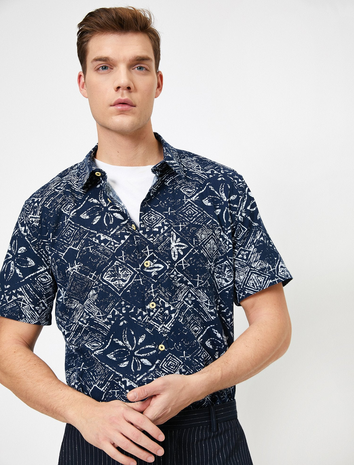 Printed SS Shirt in Navy