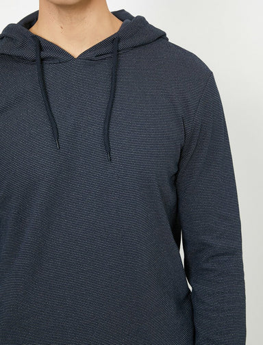 Chambray Hoodie in Navy