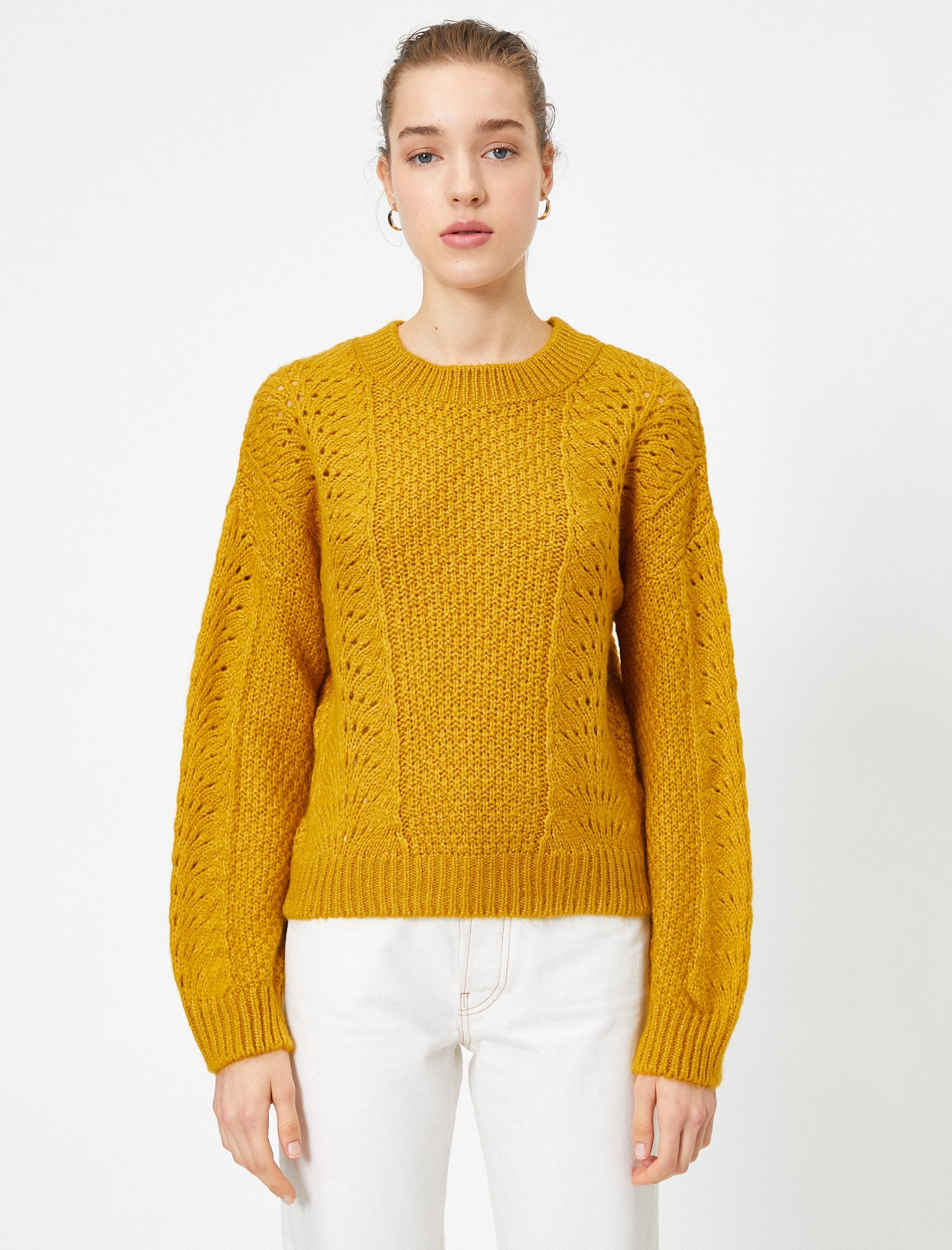 Crew Neck Pointelle Sweater in Mustard