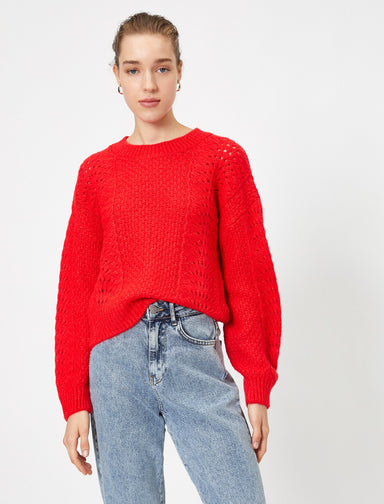 Crew Neck Pointelle Sweater in Red