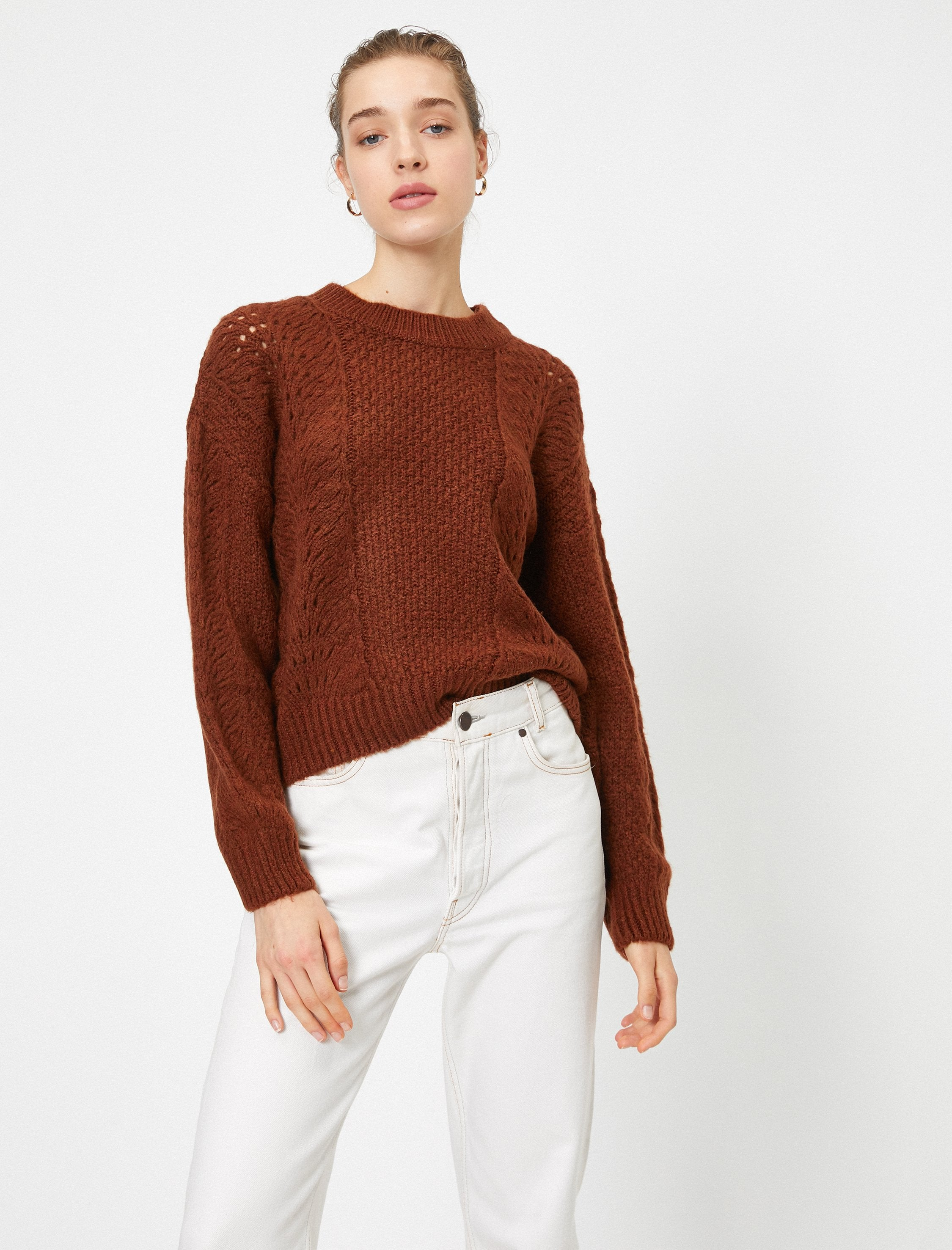 Crew Neck Pointelle Sweater in Terracotta